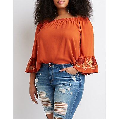 Plus Size Floral Bell Sleeve Off-The-Shoulder Top