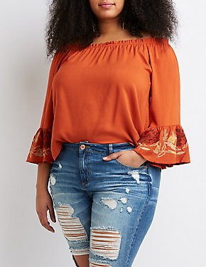 ce767859b1b18 Plus Size Floral Bell Sleeve Off-The-Shoulder Top