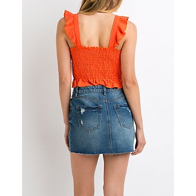 Refuge Frayed Hem Denim Skirt