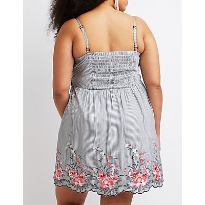 Plus Size Striped Floral Embroidery Skater Dress