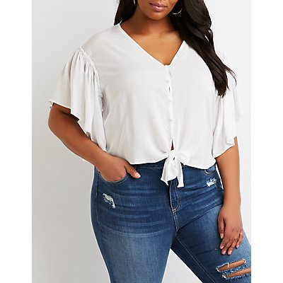 Front-Tie Button-Up Top