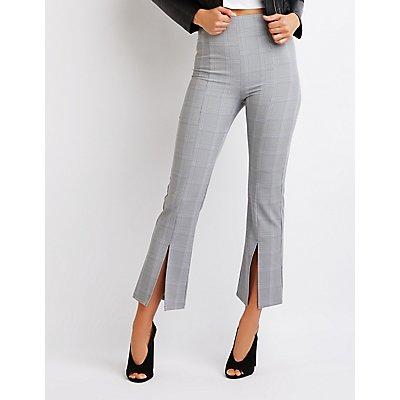 Plaid Crop Flared Pants