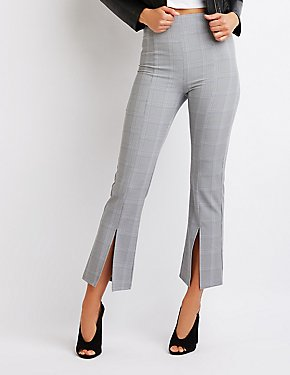 Plaid Crop Flared Pants