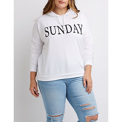 Plus Size Sunday Drawstring Hoodie