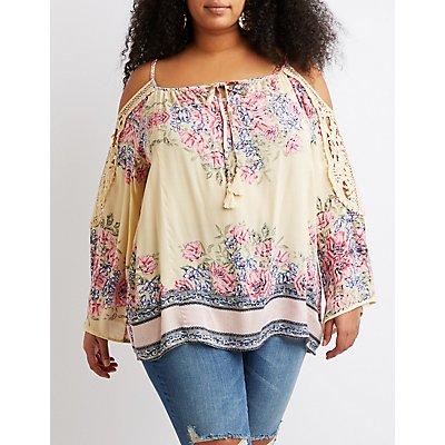 Plus Size Crochet Detailed Cold-Shoulder Top