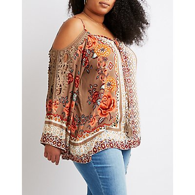 Plus Size Crochet-Trim Bell Sleeve Top
