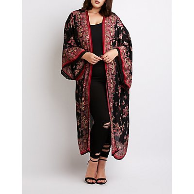 Floral Print Duster Kimono