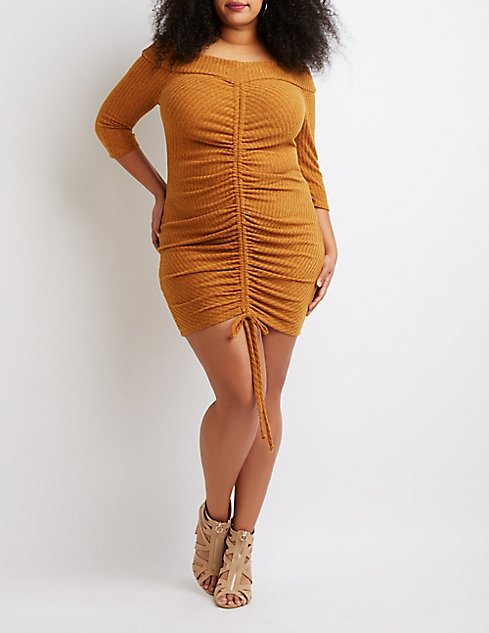 80977faa1c5e Plus Size Off-The-Shoulder Ruched Bodycon Dress | Charlotte Russe