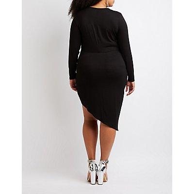 Plus Size Knot V-Neck Bodycon Dress