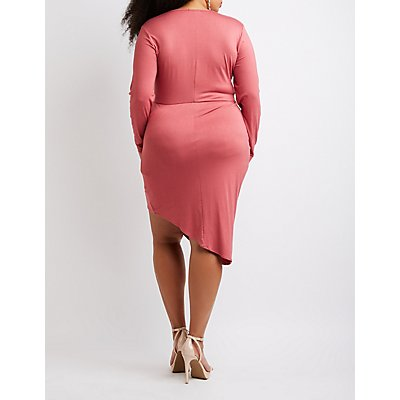 Plus Size Knot V-Neck Bodycon Dress