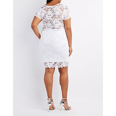 Plus Size Floral Lace Scalloped Dress