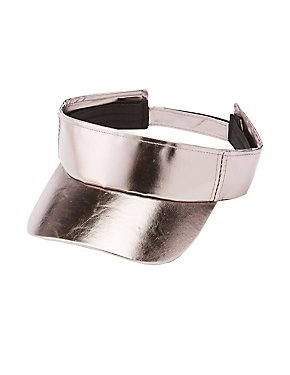 Metallic Faux Leather Visor
