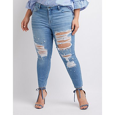 Plus Size Cello Pealr & Destroyed Skinny Jeans