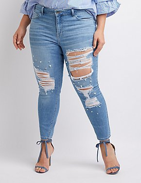 5d5d2e9dde7 Plus Size Skinny Jeans  High-Waisted   Ripped