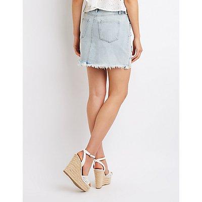 Refuge Destroyed Denim Skirt