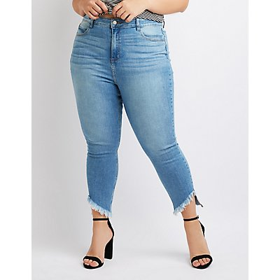 Plus Size Cello Frayed Hem Skinny Jeans