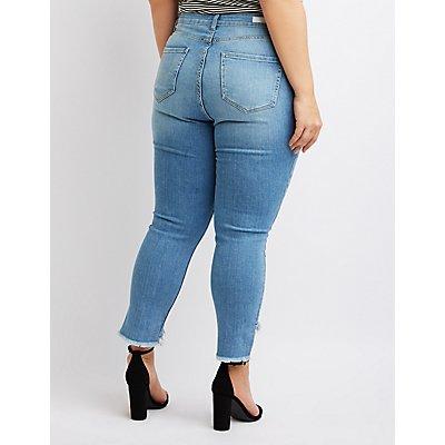 Plus Size Cello Frayed Hem Skinny Jeans