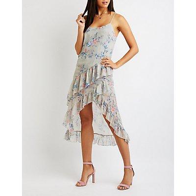Floral Ruffle Asymmetrical Maxi Dress