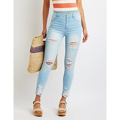 Refuge Destroyed High-Rise Skinny Jeans