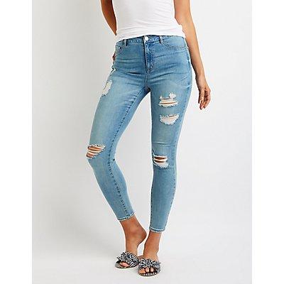 Refuge Destroyed High Rise Skinny Jeans