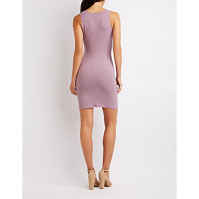 Wrap V-Neck Bodycon Dress