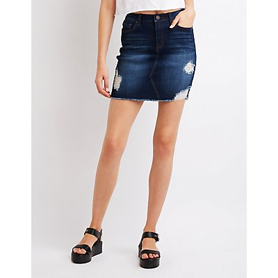 Refuge Destroyed Denim Skirt