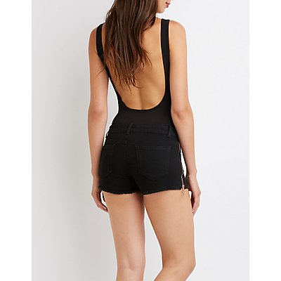 Zipper Trim Denim Shorts