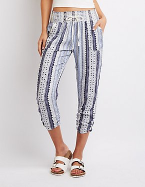 Smocked Geometric Print Jogger Pants