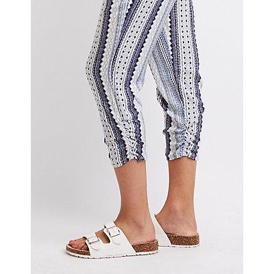 Smocked Geometric Print Jogger Pants