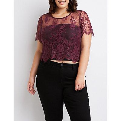 Plus Size Scalloped Lace Crop Top