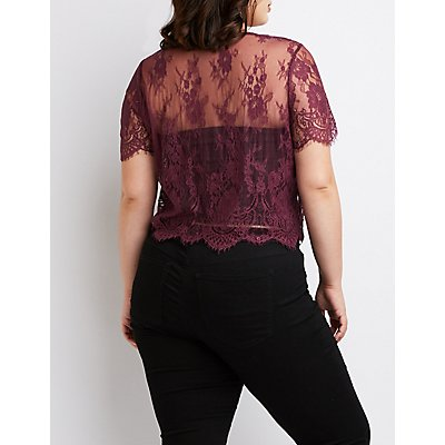 Plus Size Scalloped Lace Crop Top
