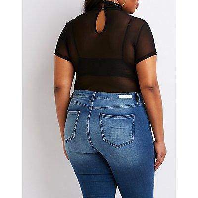 Plus Size Turtleneck Mesh Bodysuit