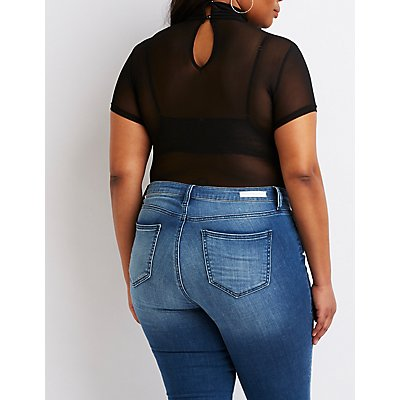 Plus Size Turtle Neck Mesh Bodysuit