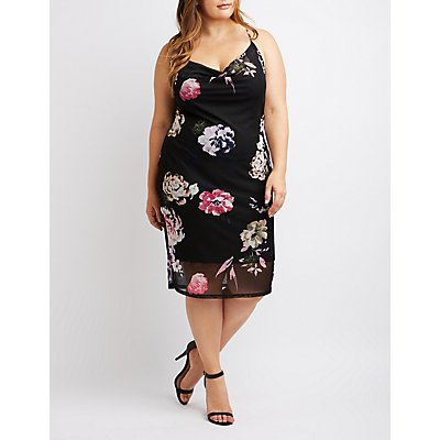 Plus Size Floral Mesh Cowl Neck Bodycon Dress