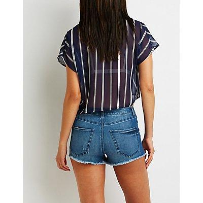 Hi Rise Cheeky Denim Shorts