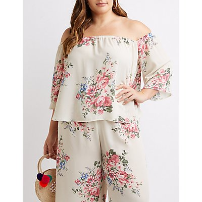 Plus Size Floral Off-The-Shoulder Top
