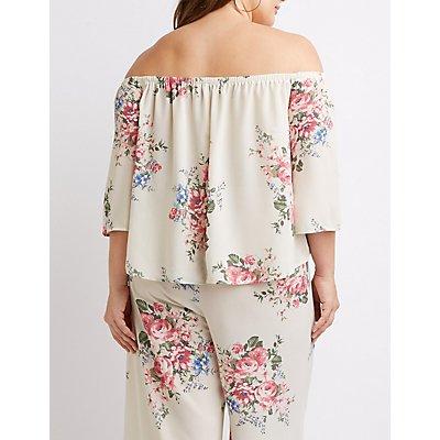 Plus Size Floral Off-The-Shoulder Top