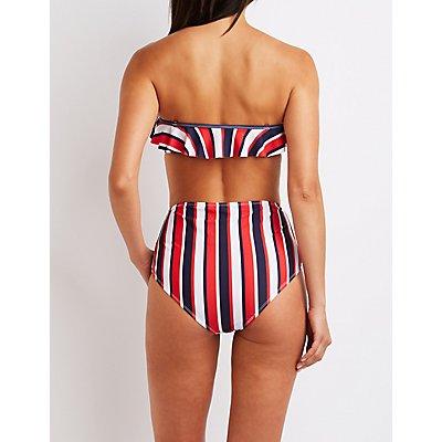 Ruffle Stripe Bikini Top