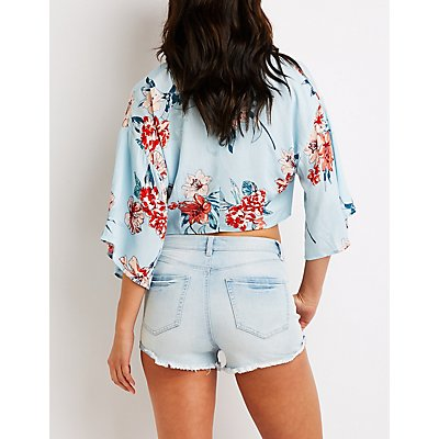 Refuge Destroyed High Rise Shorts