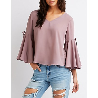 Bow Detailed Bell Sleeve Top