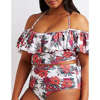 Plus Size Floral Ruffle Bikini Top