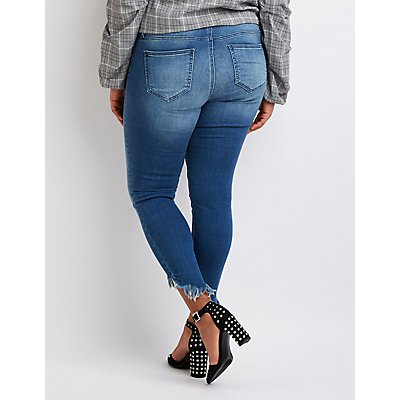 Plus Size Cello Frayed Skinny Jeans