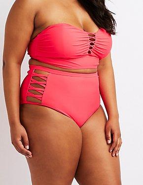 40560375d2d71 Plus Size Caged Sides High-Rise Bikini Bottoms