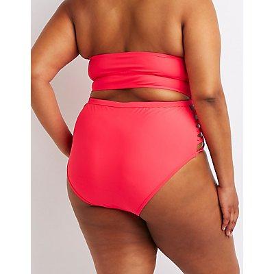 Plus Size Caged Sides High-Rise Bikini Bottoms