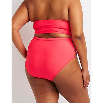 Plus Size Caged Sides High-Rise Bikini Bottoms