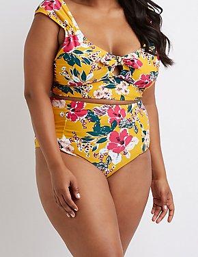 Plus Size Floral Bikini Bottoms