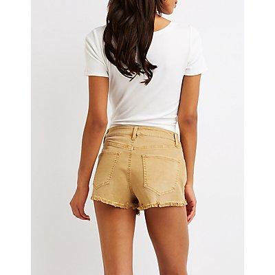 Refuge Hi-Rise Cheeky Denim Shorts