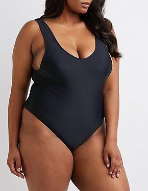 Plus Size Open Back Swimsuit