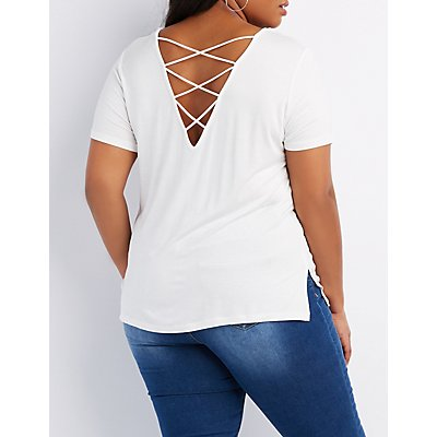 Plus Size Strappy Caged-Back Tee