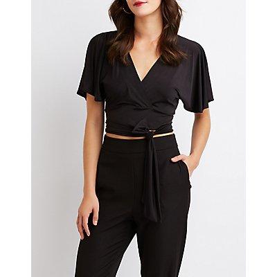 Kimono Sleeve Tie-Back Crop Top
